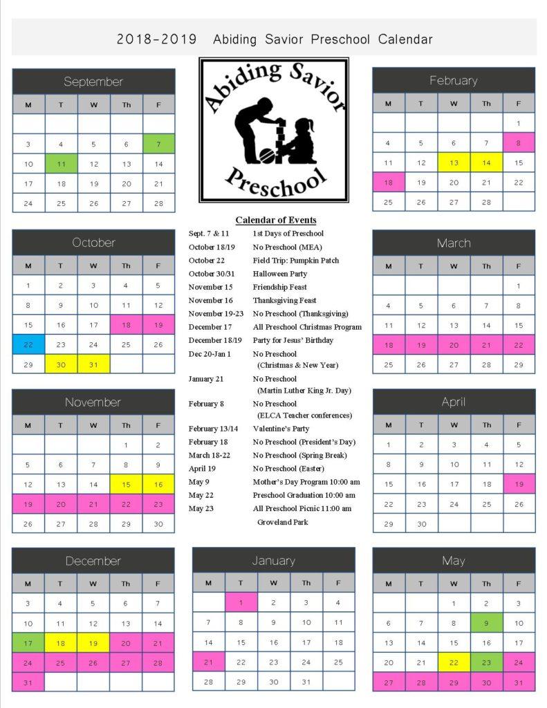 2018 2019 preschool calendar